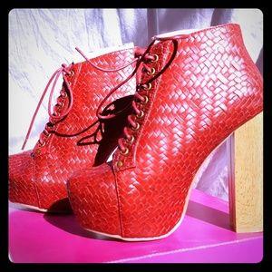 Red platform bootie heels